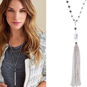 STELLA & DOT Gitane Tassel Necklace (Silver)